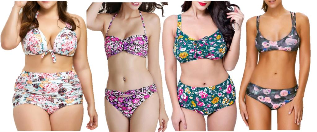 b78b5d40d344f ... Size Floral Halter Print $30, Halter Twist Floral Print Bikini Set $20,  Plus Size Floral Padded Bikini Set $25, Strappy Floral Bralette Bikini Set  $20